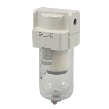 "SMC 油雾分离器,接管Rc3/8"",0.3μm,最大流量1100l/min,手动排水,有托架,AFM40-03B-A"