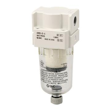 "SMC 油雾分离器,接管Rc1/4"",0.3μm,最大流量200l/min,手动排水,无托架,AFM20-02-A"