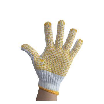 佳盾 点塑手套,2000型,750克漂白涤棉点塑手套,12副/打 20打/箱(SDJ675大包装)