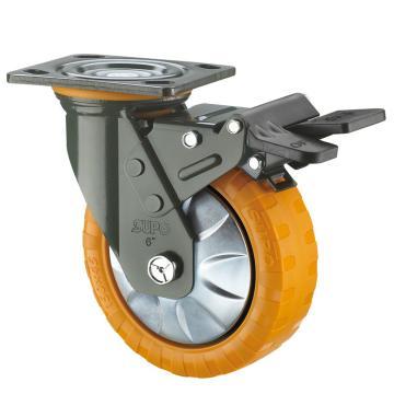 SUPO 07S款墨绿漆8寸平底塑料双刹橙色顶级PU轮 J07S-01D-200-362