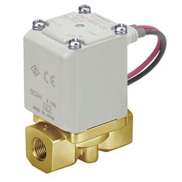 """SMC 水用直动式2通电磁阀,直接出线DC24V,接管Rc3/8"""",孔径4mm,VX222DA"""