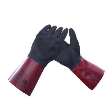 Ansell 58-530-9 丁腈涂层手套,带无缝棉内衬,深酒红带黑,305mm长