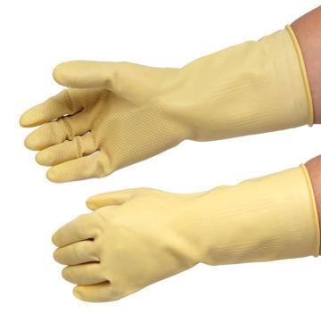 西域推荐 天然橡胶手套,洗衣洗碗家务家用护肤,黄色 S