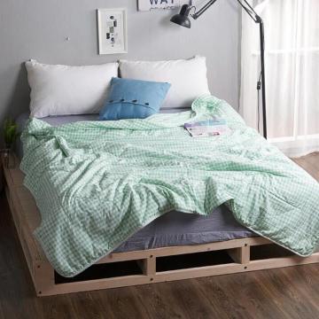 无印风格水洗棉夏被(绿格)尺寸:200*230(三斤)