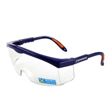 霍尼韦尔Honeywell 防护眼镜,100200,S200A 透明镜片 蓝色镜框 耐刮擦眼镜