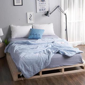 无印风格水洗棉夏被(蓝格)尺寸:200*230(三斤)
