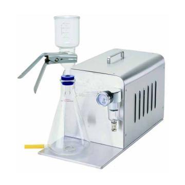 真空过滤装置,最大真空度:-650mmHg,最大抽速:34L/min,配有1L带底部排水口接收瓶、300ml玻璃过滤漏斗、真空调节阀