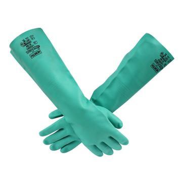 霍尼韦尔Honeywell 丁腈防化手套,LA258G/9,NITRI GARD PLUS 厚25mil 长18英寸 内层消毒 绿色
