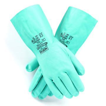 霍尼韦尔Honeywell 丁腈防化手套,LA172G/8,NITRI GARD PLUS 厚0.43mm 长33cm 植绒衬里 绿色