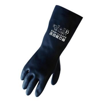 赛立特 L18511-9 黑色氯丁胶手套,平直袖口