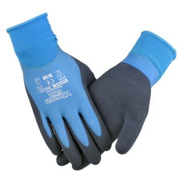 多给力 乳胶涂层手套,WG-318-L,Aqua全浸防水型作业手套,12双/打