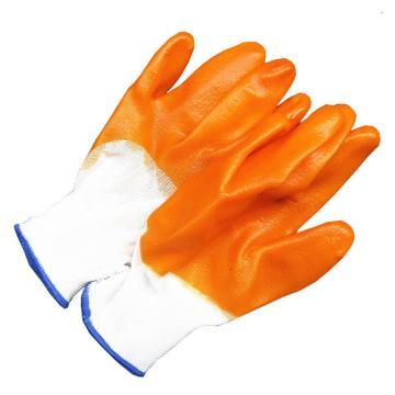 PVC全挂胶手套,橘红色