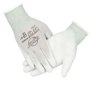 赛立特  N10575-7浸白色PU手套,15针碳纤维针织内胆