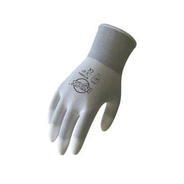 赛立特 N10551-7 13针白色复合丝针织手套,手指浸白色PU,12副/打