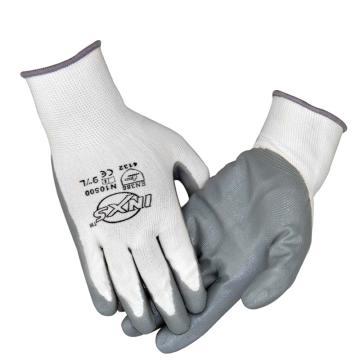赛立特 N10500-8 13针白色复合丝针织手套,手掌浸灰色丁腈光面,12副/打