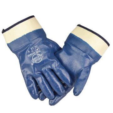 赛立特 N17410-9 橡胶涂层手套,安全袖,针织绒里,手掌蓝色丁腈涂层全浸