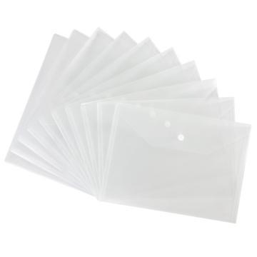 齐心 防反光按扣文件袋,C310A  A4 10个/套 透明 单位:套