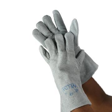 威特仕 焊接手套,10-2112-XL,灰色牛二层颈皮斜拇指款