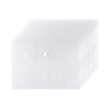 齐心 C318 巨划算经典条纹透明按扣袋 A4 20个/套 透明