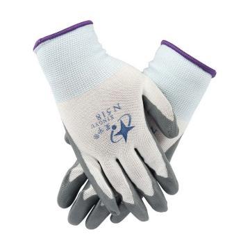星宇 丁腈涂层手套,N518-灰,13针白尼龙灰丁腈涂层手套