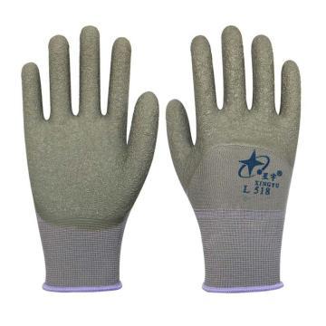 星宇 乳膠涂層手套,L518,十三針彩滌綸乳膠皺紋半掛手套