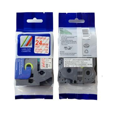 普贴 标签色带,透明底红字24mm TZ2-152 适用于兄弟TZ系列标签机 单位:卷