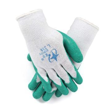 星宇 乳胶涂层手套,L218-白纱绿,2股乳胶皱纹涂层手套