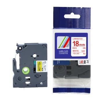普贴 标签色带,白底红字TZ2-242宽度18mm 适用于兄弟TZ系列标签机 单位:卷