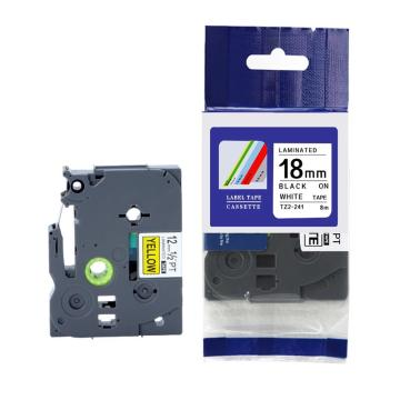 普贴 标签色带,白底黑字TZ2-241宽度18mm 适用于兄弟TZ系列标签机 单位:卷