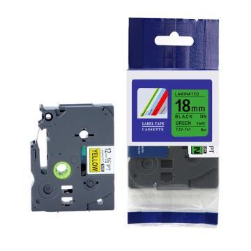 普贴 标签色带,绿底黑字TZ2-741宽度18mm 适用于兄弟TZ系列标签机 单位:卷