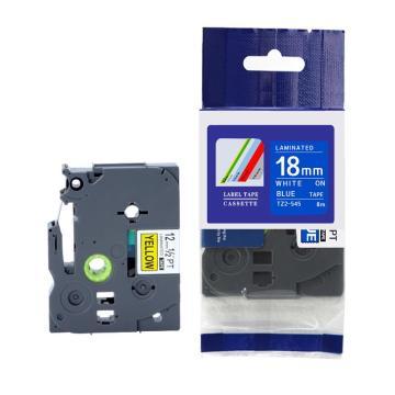 普贴 标签色带,蓝底白字TZ2-545宽度18mm 适用于兄弟TZ系列标签机 单位:卷