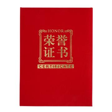 齐心 绒面荣誉证书,C4571 B5 红 单本