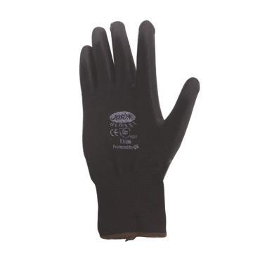 黑色PU浸手掌尼龙手套,尺码:9