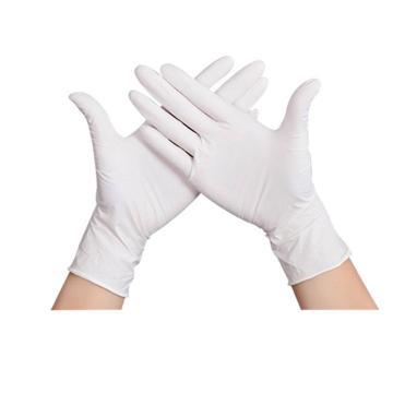 西域推荐 无粉一次性手套,丁腈材质 耐油弱酸碱 白色 L,100只/盒
