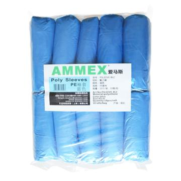 爱马斯AMMEX 防化袖套,PSLEEVE-BLC,蓝色PE袖套,100个/袋