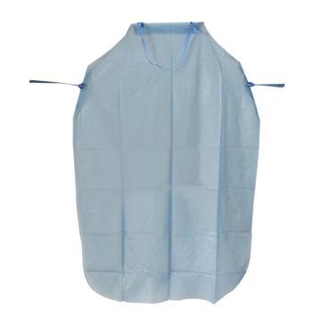 "安思爾Ansell 一次性圍裙,54-441,7.5 mil厚褶邊藍色 35""x50"""