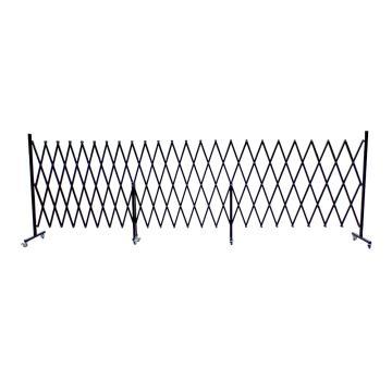 迈邦 伸缩隔离栏 全铁材质 高1.2m(拉到最长高度)长度范围520-6700mm 自带滚轮 F3P,黑色
