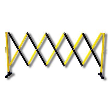 伸缩隔离栏 铁边柱铝网格 高950mm长度范围290-3500mm B2A 自带滚轮,黄/黑