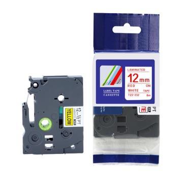 普贴 标签色带,白底红字TZ2-232宽度12mm 适用于兄弟TZ系列标签机 单位:卷