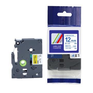 普贴 标签色带,白底蓝字TZ2-233宽度12mm 适用于兄弟TZ系列标签机 单位:卷
