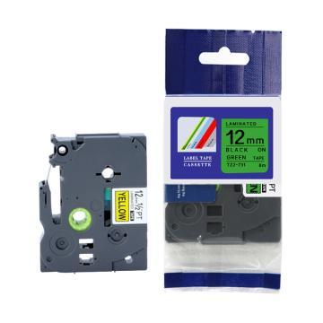普贴 标签色带,绿底黑字TZ2-731宽度12mm 适用于兄弟TZ系列标签机 单位:卷