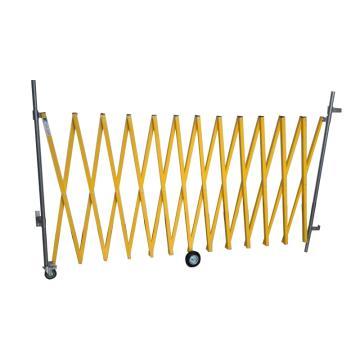 伸缩隔离栏 铁边柱铝网格 高1000mm长度范围400-4000mm 自带滚轮 F1A,黄色