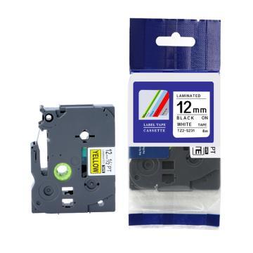 普贴 标签色带,白底黑字TZ2-231宽度12mm 适用于兄弟TZ系列标签机 单位:卷