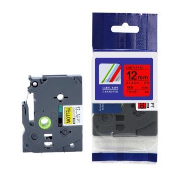 普贴 标签色带,红底黑字TZ2-431宽度12mm 适用于兄弟TZ系列标签机 单位:卷
