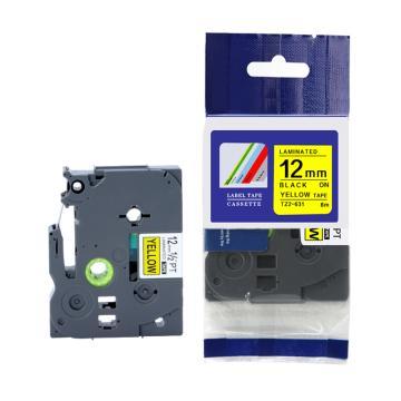 普贴 标签色带,黄底黑字TZ2-631宽度12mm 适用于兄弟TZ系列标签机 单位:卷