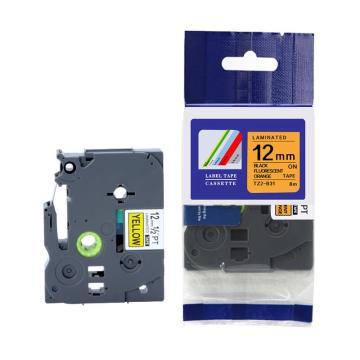 普贴 标签色带,荧光橙底黑字TZ2-B31宽度12mm 适用于兄弟TZ系列标签机 单位:卷