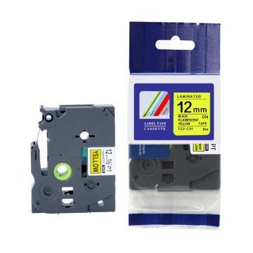 普贴 标签色带,荧光黄底黑字TZ2-C31宽度12mm 适用于兄弟TZ系列标签机 单位:卷