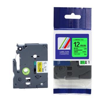 普贴 标签色带,荧光绿底黑字TZ2-D31宽度12mm 适用于兄弟TZ系列标签机 单位:卷