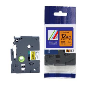 普贴 标签色带,金底黑字TZ2-831宽度12mm 适用于兄弟TZ系列标签机 单位:卷