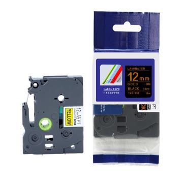 标签色带,黑底金字TZ2-334宽度12mm 适用于兄弟TZ系列标签机